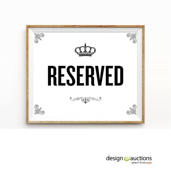 reserved sign printable instant download party signage printable