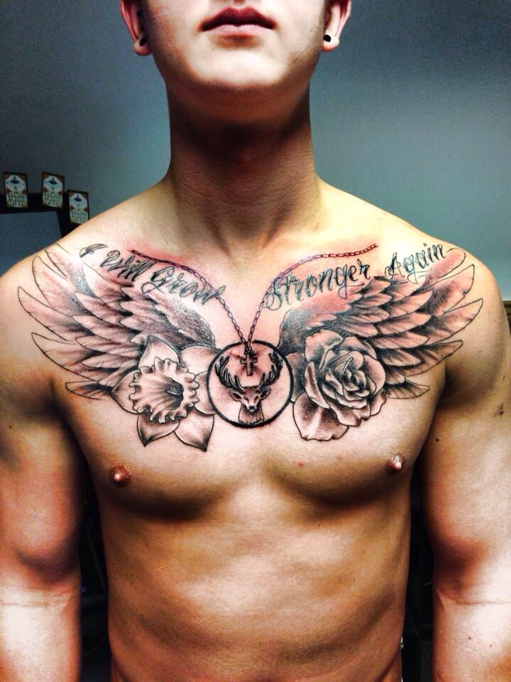 Wings Stag Cross Rose Daffodil Chain Tattoo Chest Piece Tattoos Chest Tattoo Chest Tattoo Men