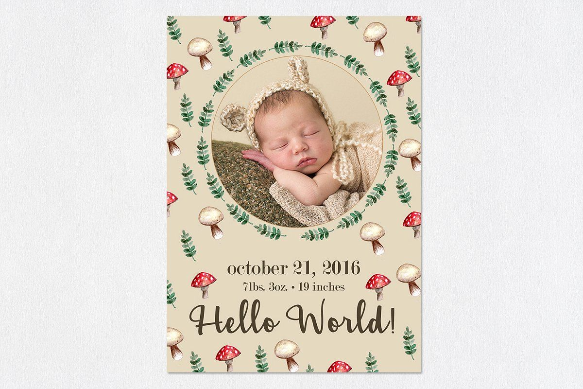 Birth Template Wild Tulips Birth Announcement Template Birth Announcement Card Cute Baby Announcements