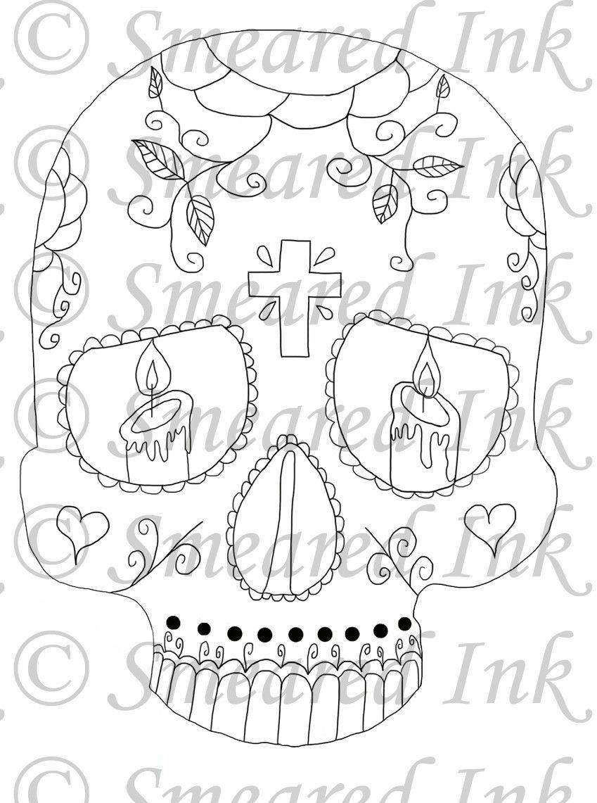 Moderno Para Colorear Cráneo De Azúcar Imprimible Bandera - Dibujos ...