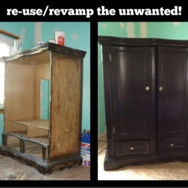Revamp the unwanted!!! I used a cheap satin black paint I found at Walmart something like 6.00 for a quart....did the tear down, painted the wood and sprayed the fixtures and hinges with a polished nickel spray paint, 3.50 a can.