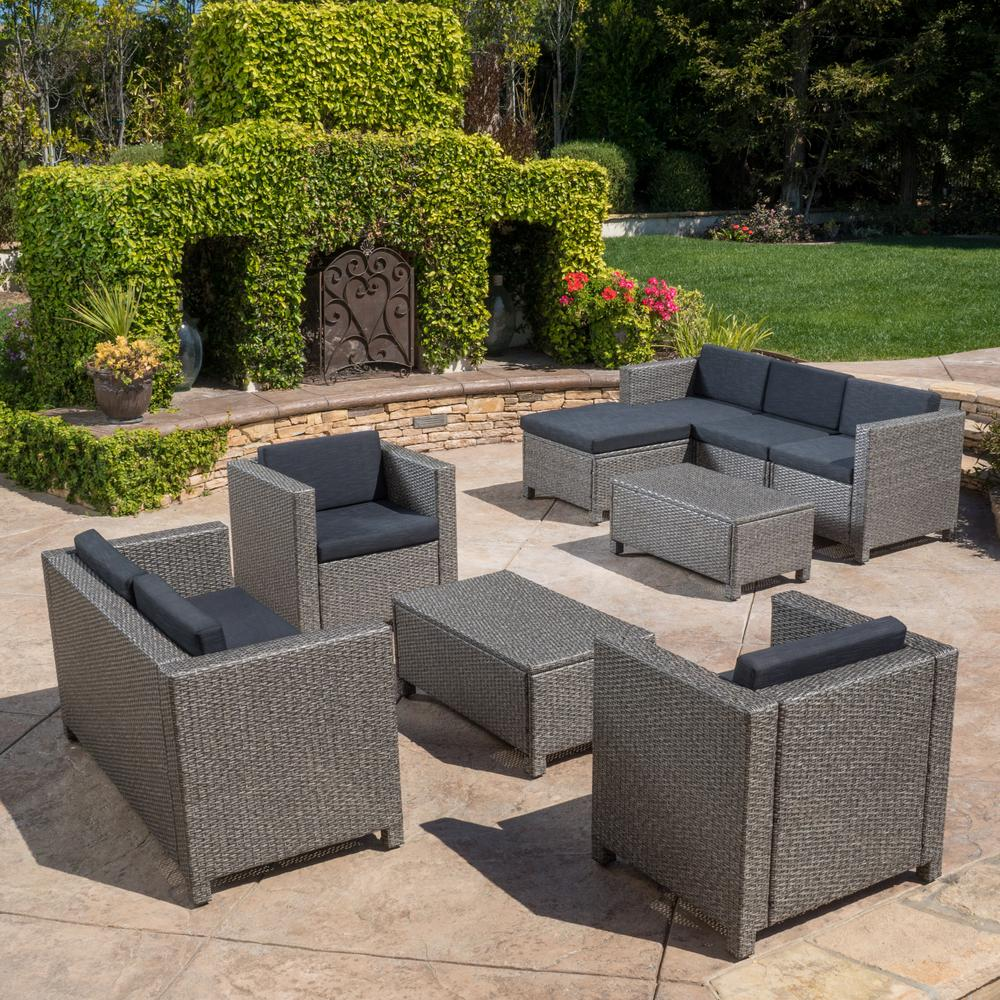 Noble House Puerta Gray 9 Piece Wicker Outdoor Sectional Set With
