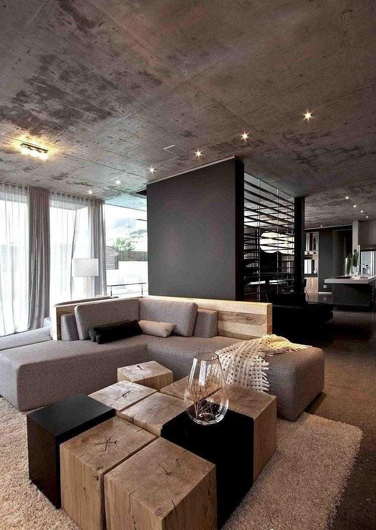 D co salon gris avec canap tout confort 55 id es pour vous salons lofts - Idee deco table basse ...