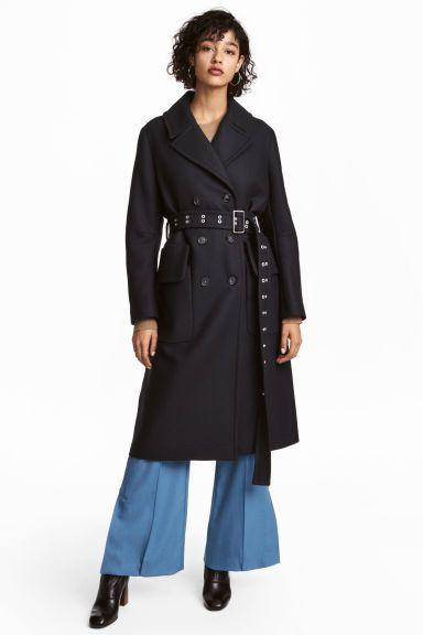 Manteau en laine mélangée - Bleu foncé - FEMME   H M FR 1 af219605211