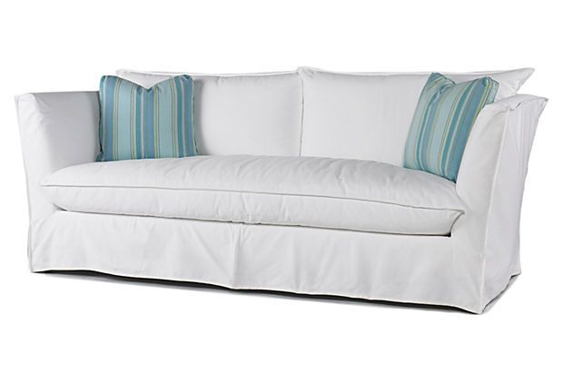 This white Johnson sofa with natural linen/cotton upholstery is the ultimate in casual, chic comfort. (1999 on OKL; retails 4032)