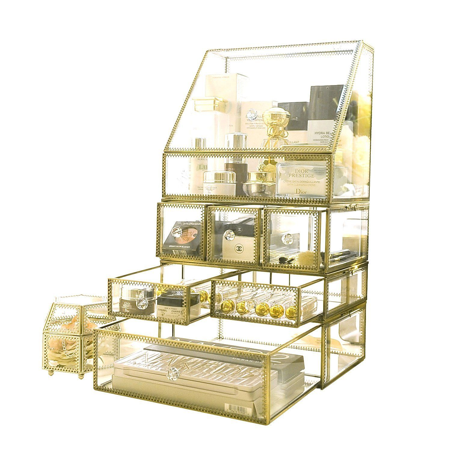 Hersoo Gold Vintage Spacious 4 Tier Drawers Clear Glass