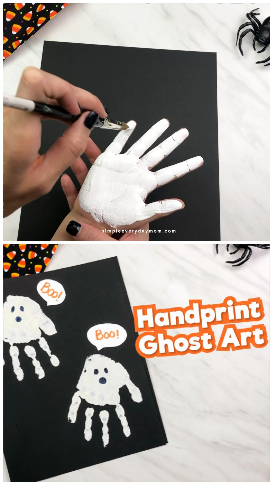 Handprint Ghost Art For Kids #halloweencraftsfortoddlers