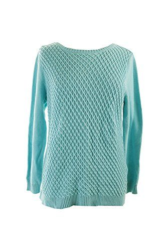 Karen Scott New Angel Blue Textured Front Jersey Sweater M ** Click image for more details.