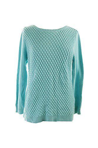 Karen Scott New Angel Blue Textured Front Jersey Sweater M ** Click image for more details.