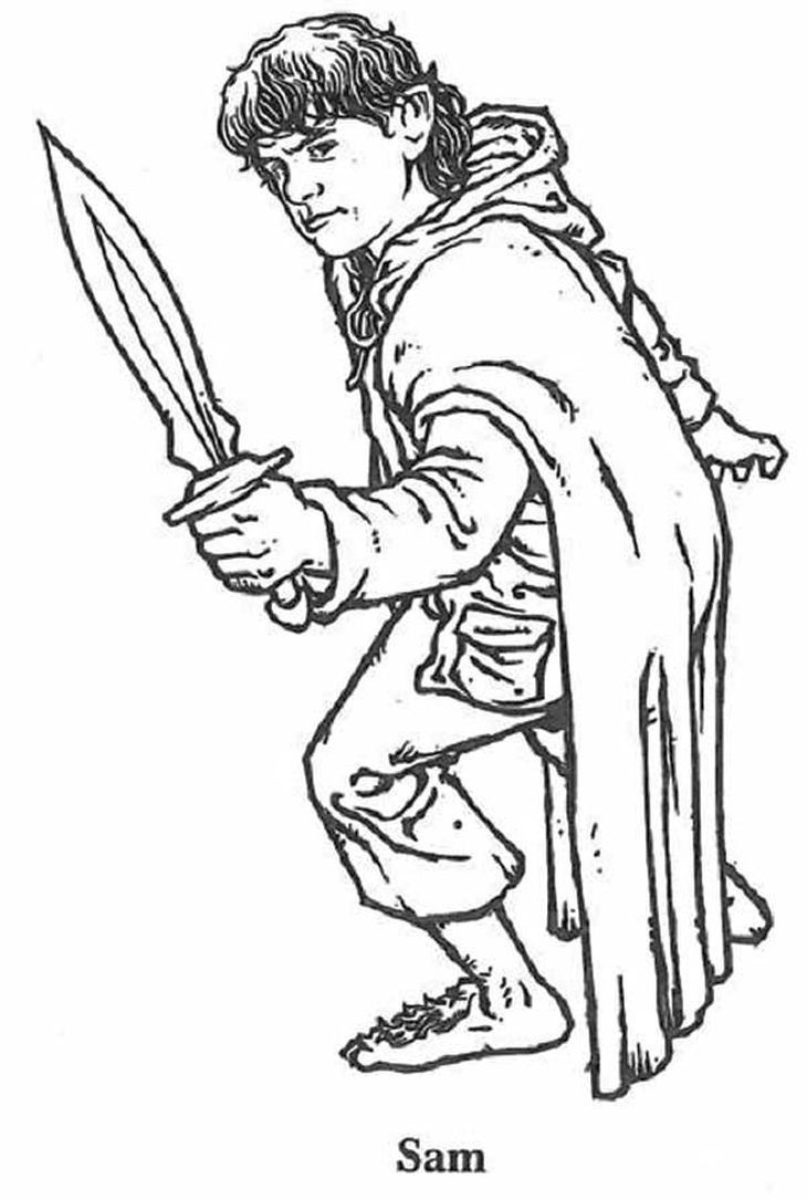 samwise from lord of the rings coloring page to print