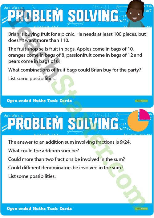 Open-Ended Maths Problem Solving Cards - Upper Primary Teaching ...