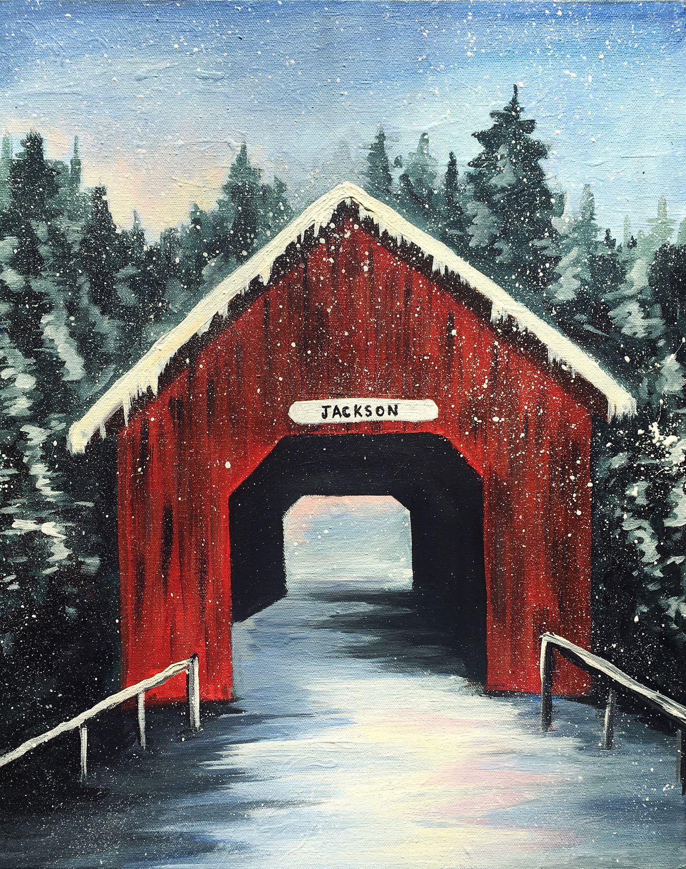 Jackson Art Studio Gallery Covered Bridge Painting Canvas Painting Diy Winter Painting