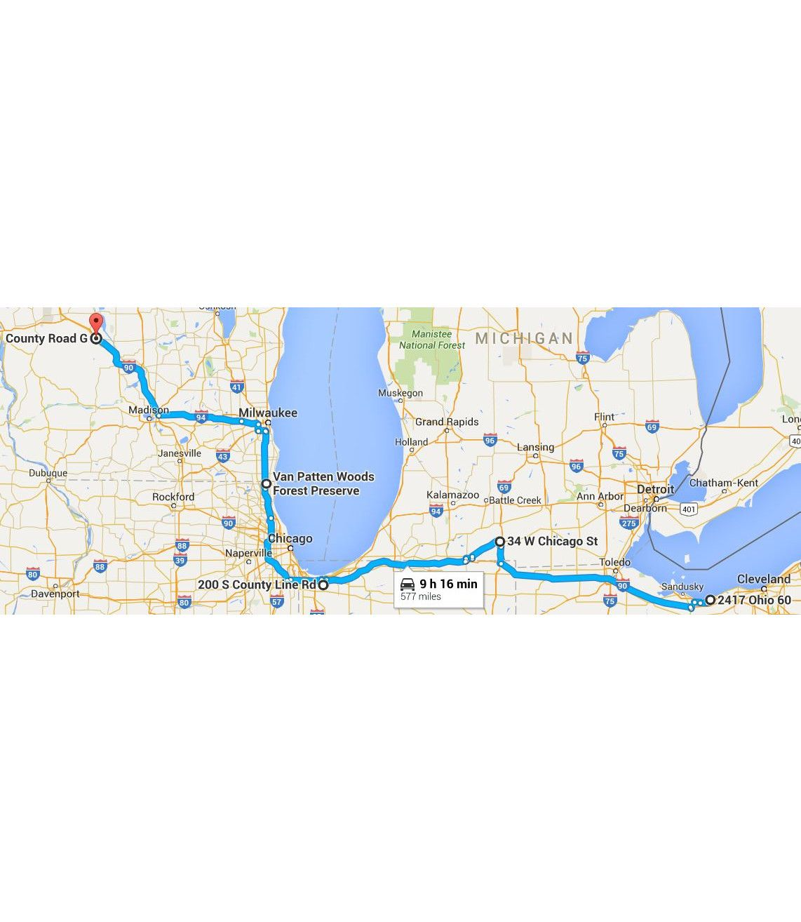 Marion Wisconsin Map.Trip Out Day 2 Vermillion Oh Stop 1 Coldwater Mi Lunch Stop