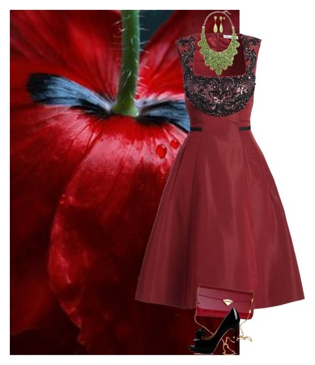 """#poppy"" by djalicat ❤ liked on Polyvore featuring Oscar de la Renta, Valentino, red, valentino, poppies and MastersOfMimicry"