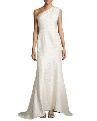 83e731e1391 Animal-Textured One-Shoulder Gown by ML Monique Lhuillier at Neiman Marcus.