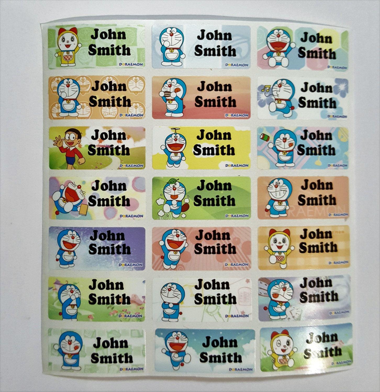 Doraemon name sticker doraemon name tag name label waterproof