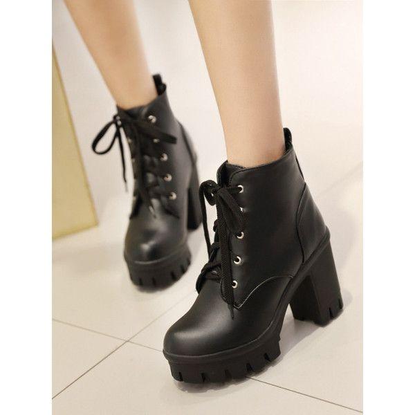 Women's Casual Lace up Round Toe Block High Heel Platform Short Boots