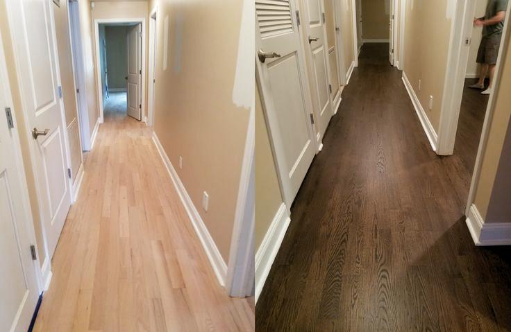 Vorher Nachher Roteichenboden Mit Minwax Jacobean Fleck Und Vier Schichten Wasser Future Home Ideas Fleck Future H In 2020 Hardwood Floor Stain Colors