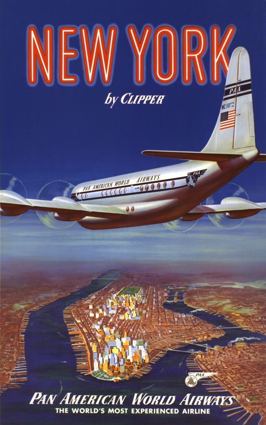 New York By Clipper Pan Am Vintage Travel Poster Travel