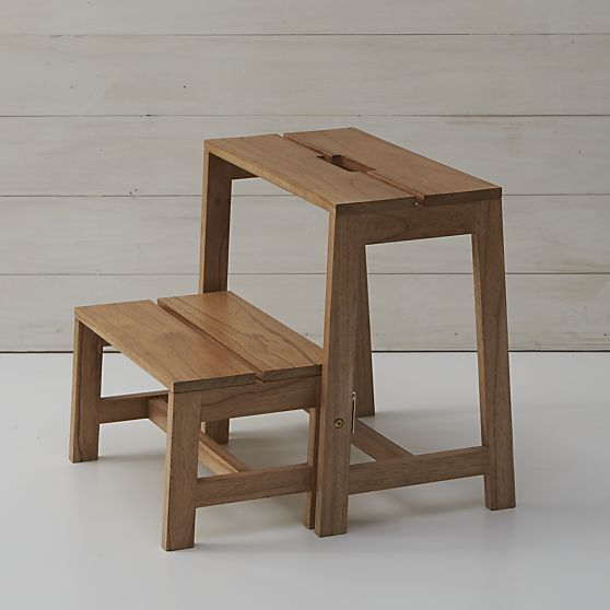 Wooden 2-Step Stool in Utility u0026 Kitchen Helpers | Crate and Barrel & Wooden 2-Step Stool in Utility u0026 Kitchen Helpers | Crate and ... islam-shia.org