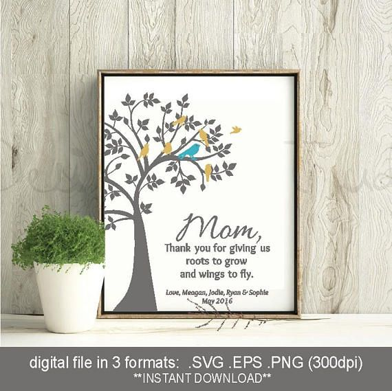 SVG family tree birds, mothers day gift, roots to grow