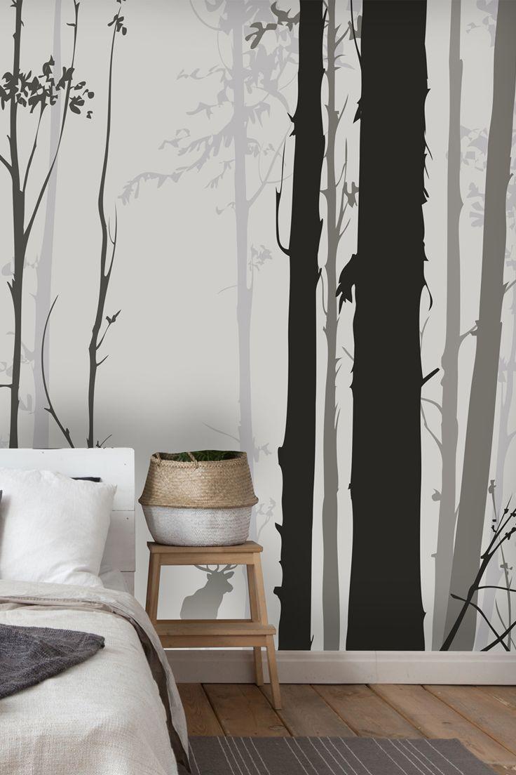 Forest Silhouette Wallpaper Wallsauce Uk Bedroom Wallpaper Accent Wall Wallpaper Bedroom Bedroom Wallpaper Black And White