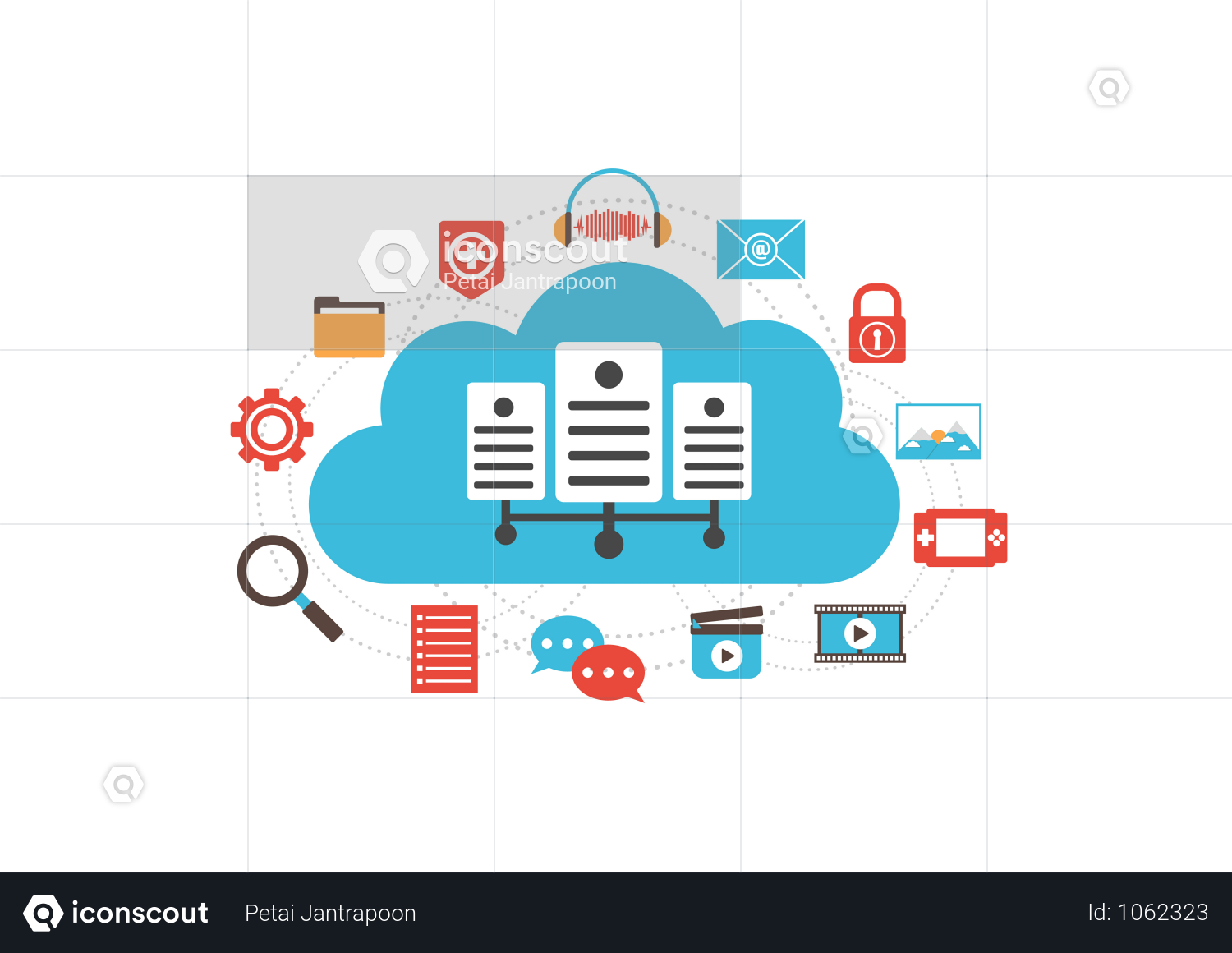 Premium Cloud Server With Media Illustration Download In Png Vector Format Communication Illustration Illustration Clouds
