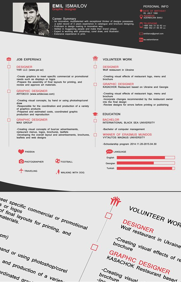 Free One Page CV / Resume Template Free stuff Pinterest Cv