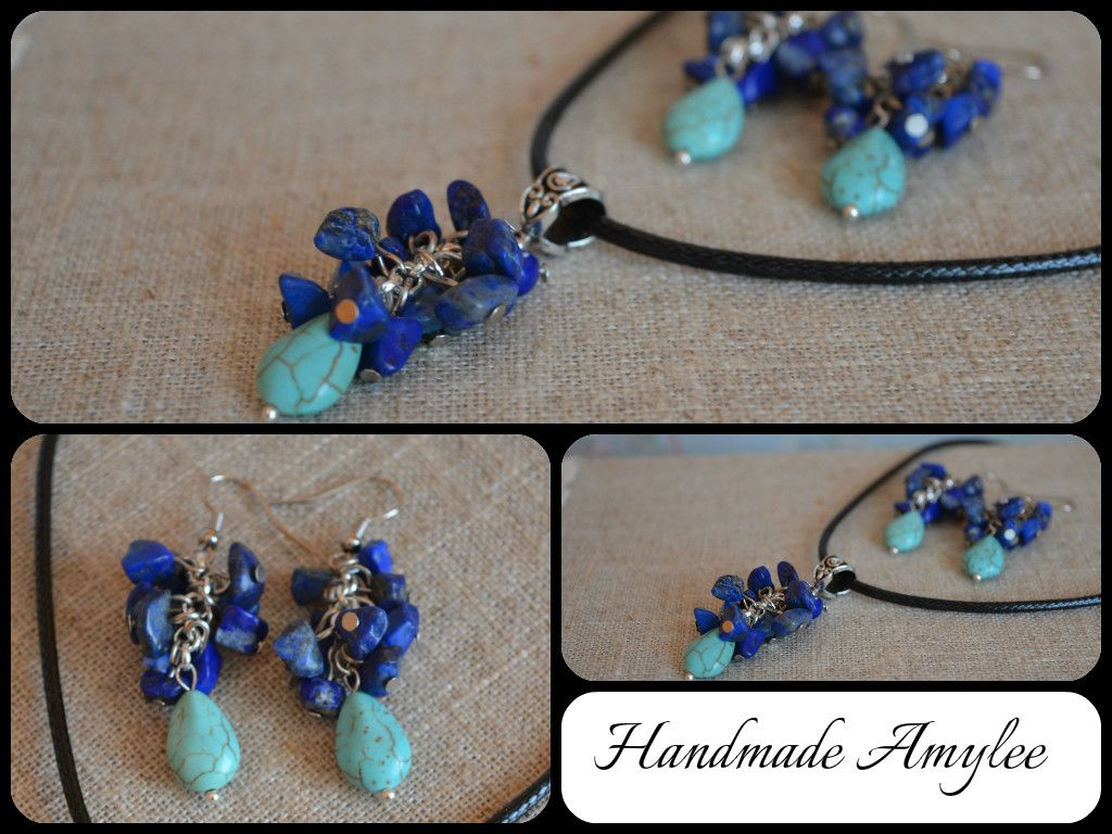 Necklace and earrings with turquoise and lapis lazuli :D FOR SALE !!!7 EURO!!