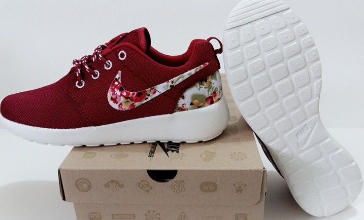 Exceed 54% off Womens Nike Roshe Run Burgundy Flower Print White