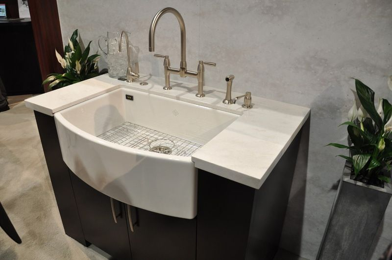 Rohlu0027s Waterside Apron Front Sink   Has A Bowed Front, Which Provides More  Sink Space Without Encroaching Too Much On The Rest Of The Kitchen. Itu0027s  Fireclay ...