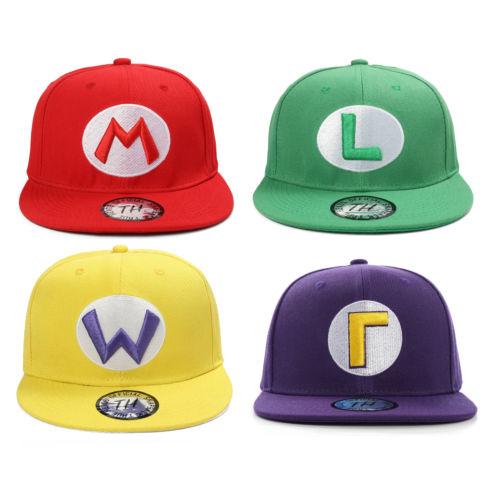 Super Mario Luigi Wario Mushroom Waluigi Boo Snapback Baseball Caps 6 Pack Ebay Super Mario And Luigi Baseball Cap News Boy Hat