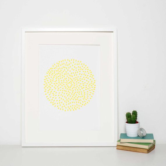 Minimalist Modern Art Print Yellow Circular Pattern Wall Art