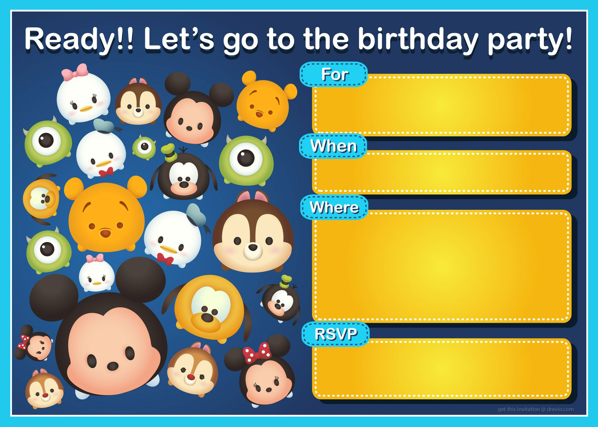 Free Printable Disney S Tsum Tsum Birthday Invitation Template Birthday Invitation Templates Birthday Card Template Party Invite Template