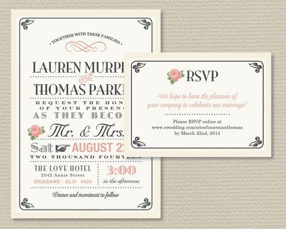 Printable Wedding Invitation & RSVP Vintage by rosiedaydesign
