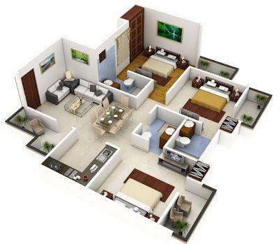 Plano 3d de casa o departamento cuadrado apartment floor - Planos de casas grandes ...
