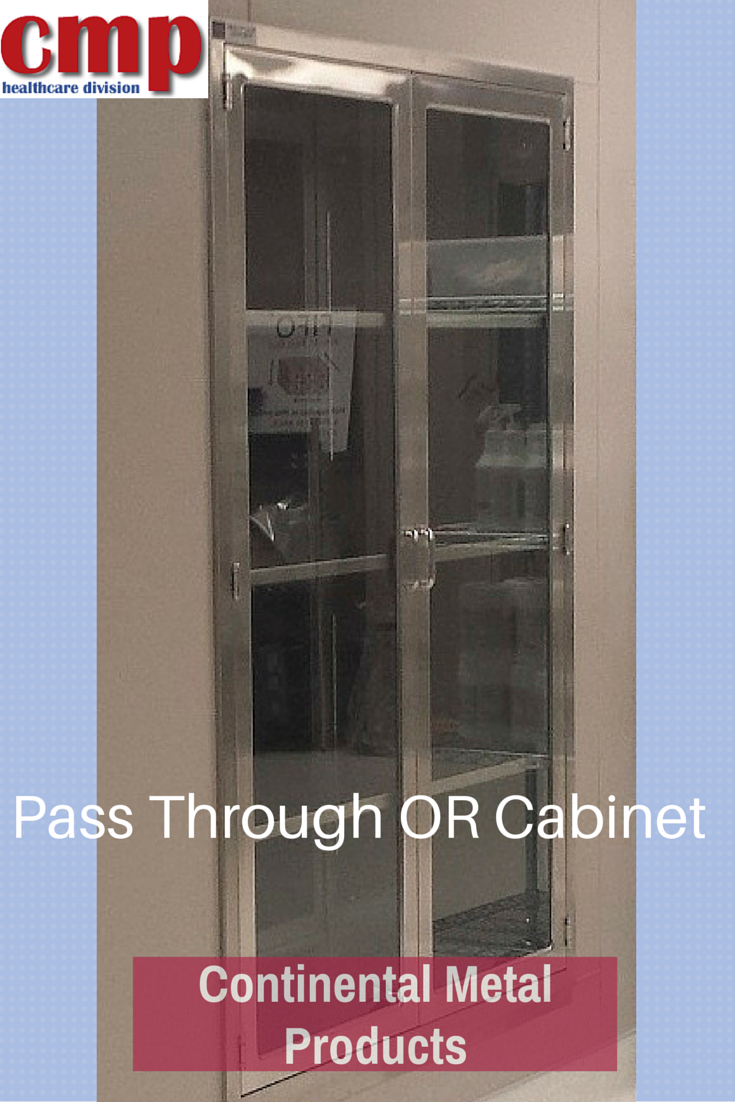 Recessed Operating Room Storage or Pharmacy Pass-thru cabinet has glass doors on both sides & Recessed Operating Room Storage or Pharmacy Pass-thru cabinet has ...