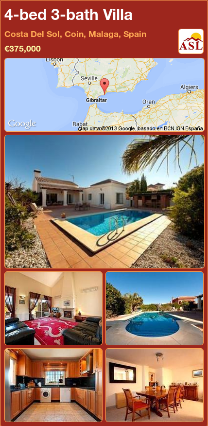 4-bed 3-bath Villa in Costa Del Sol, Coin, Malaga, Spain ►€375,000 #PropertyForSaleInSpain