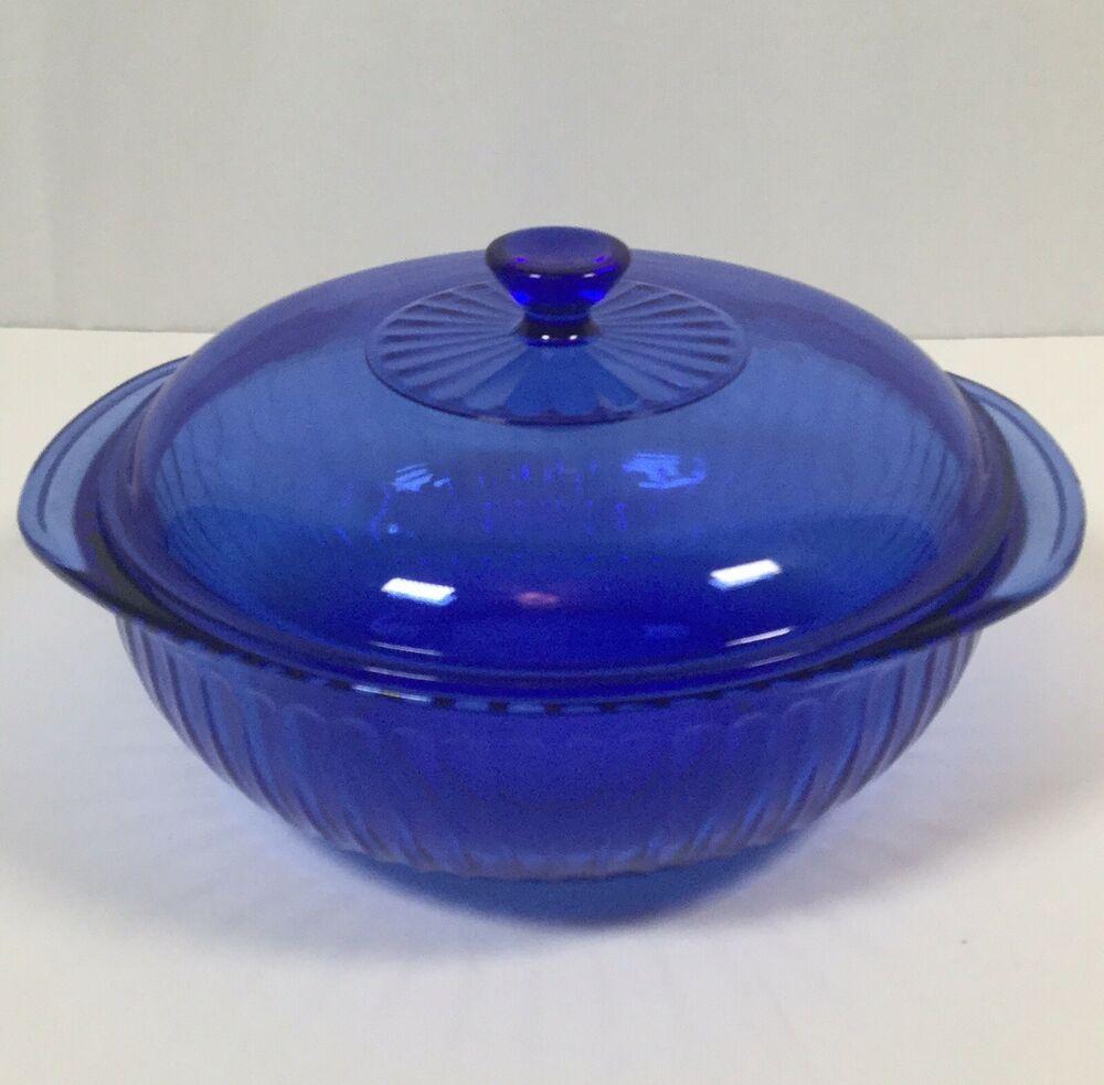 Pyrex Cobalt Blue Casserole Dish with Lid 2 Quart Ribbed