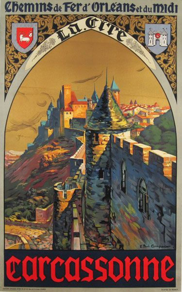 Vintage Carcassonne French Tourism Poster A3 Print