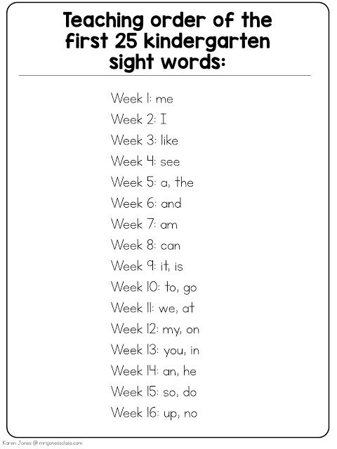 Order for teaching the first 25 sight words in