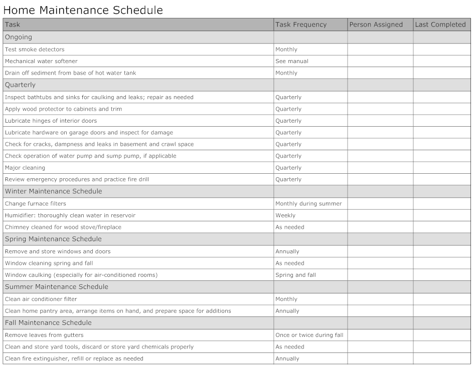 Example Image Home Maintenance Schedule  Templets