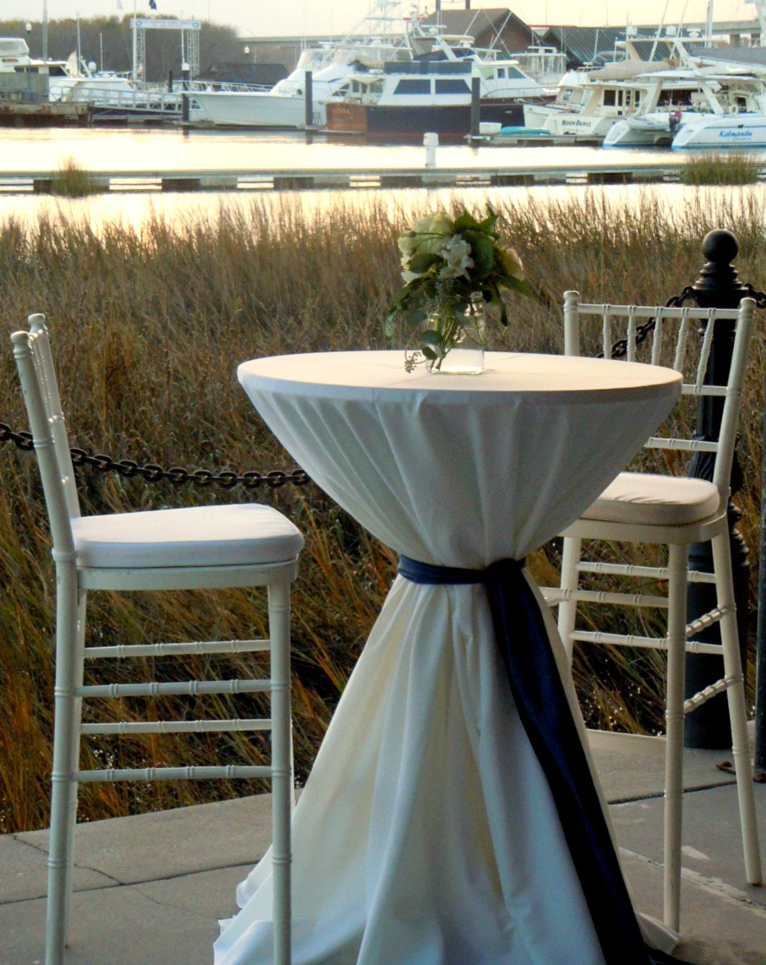 Mason Jar Aisle Chair Decoration Moved To Cocktail Table After The Ceremony Overlooking City Marina Cocktail Table Decor Cocktail Tables Rustic Vintage Wedding