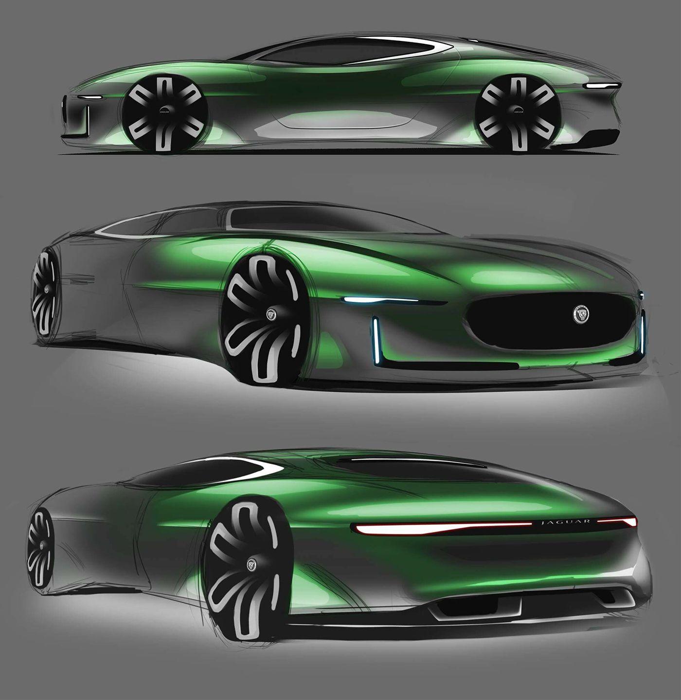 Jaguar Free Sketch On Behance Transportation Design Sketch