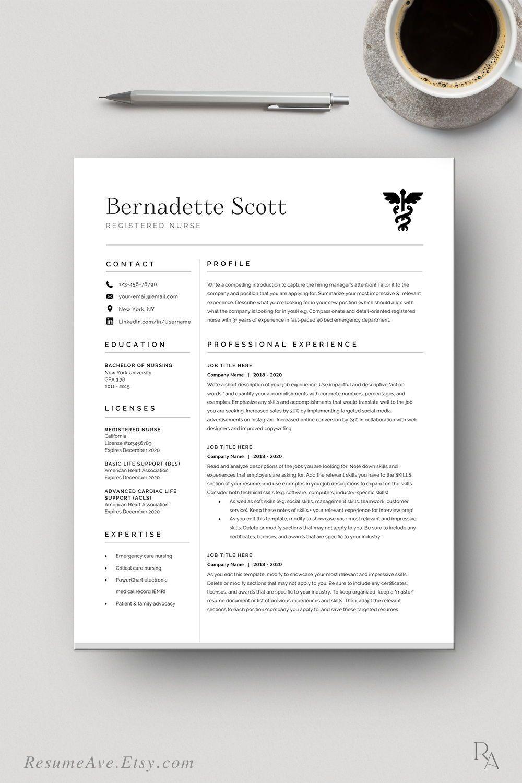 Modern nurse resume template / cv template for digital
