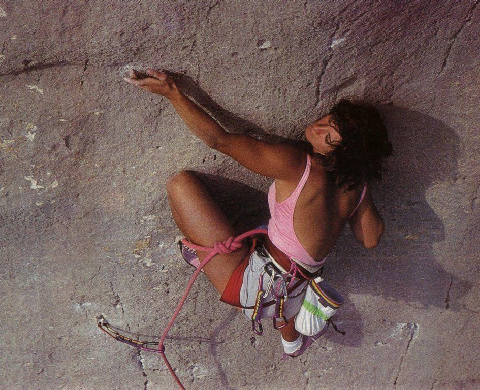 Catherine Destivelle PinUp rock climbing Verdon canyon limestone cliff, Pichenibule 7a