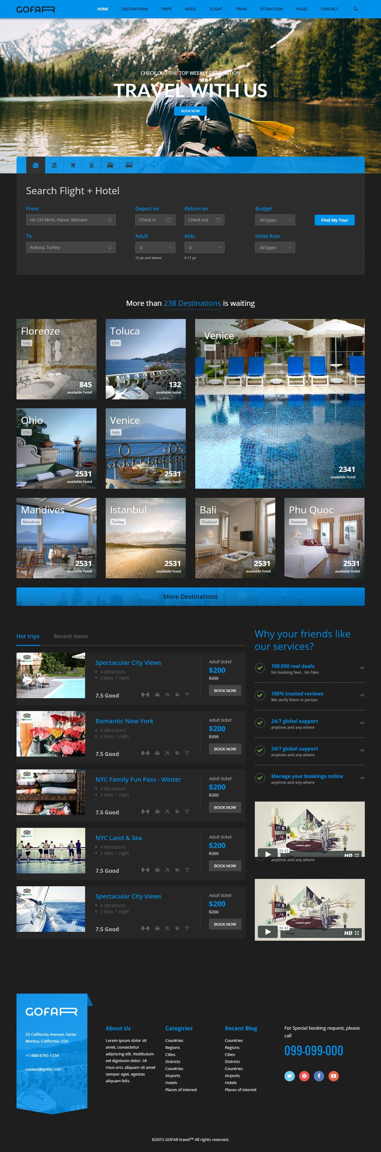 Gofar - Premium Responsive Travel Booking HTML5 Template | Contact ...