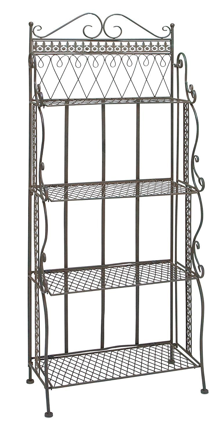 Plutus Brands 4 Shelf Metal Bakers Rack With Vintage Design To