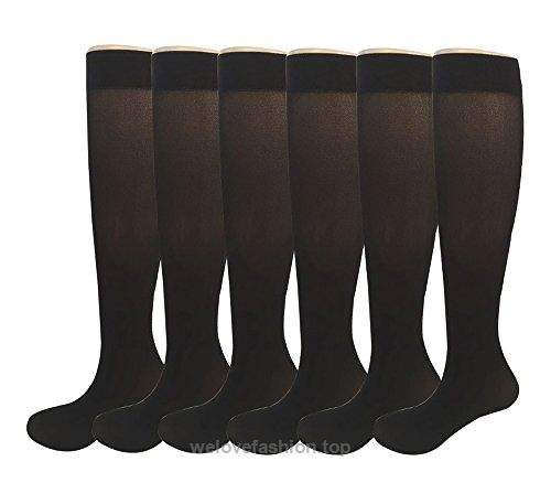 Womens Semi Opaque Knee High Trouser Sock 3pair  6pair One Size XS to