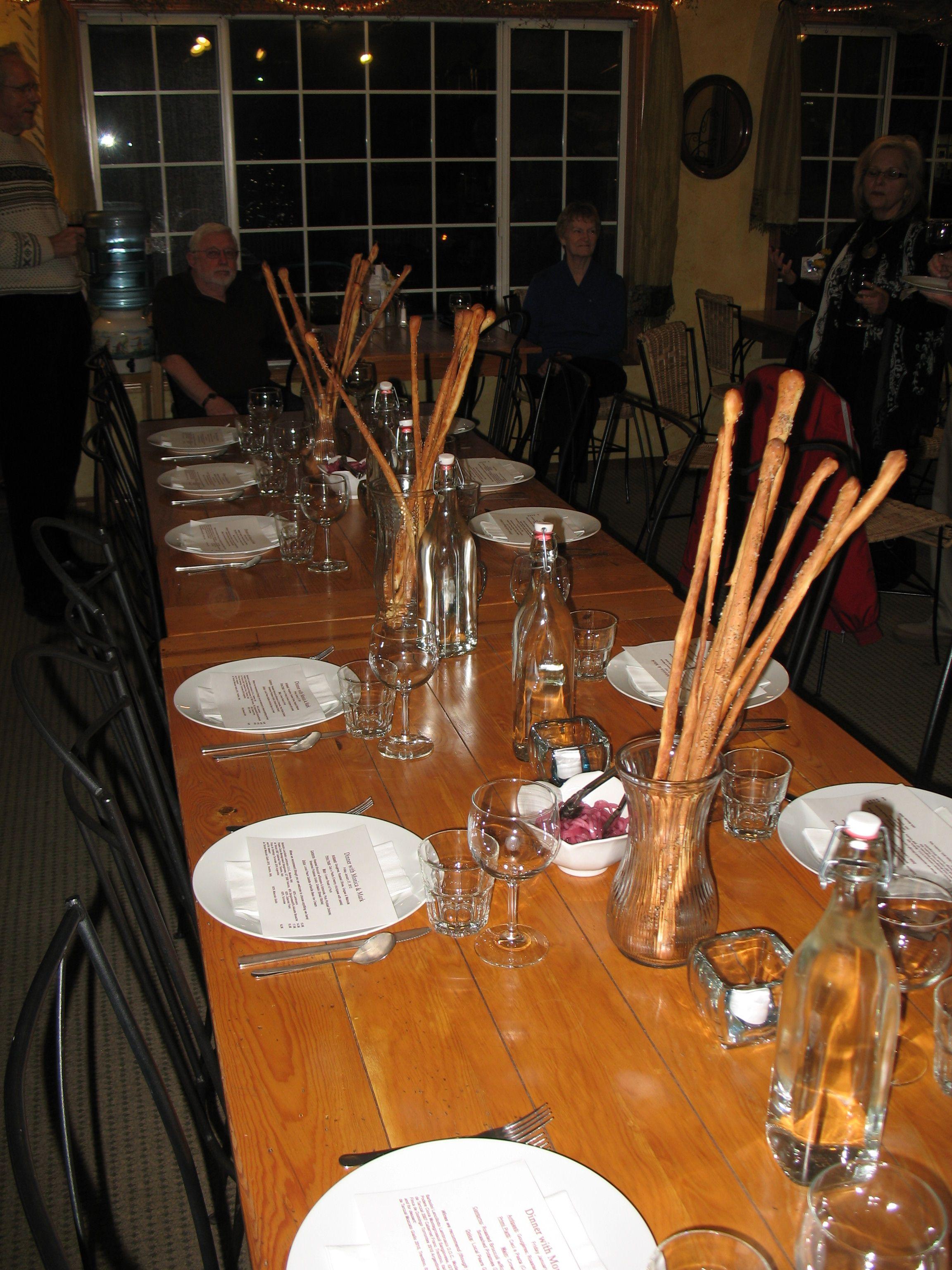 Dinner Party Table Set W Grissini Long Bread Sticks Club